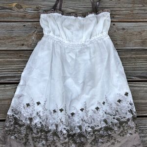 White and Brown Floral Designed Dress
